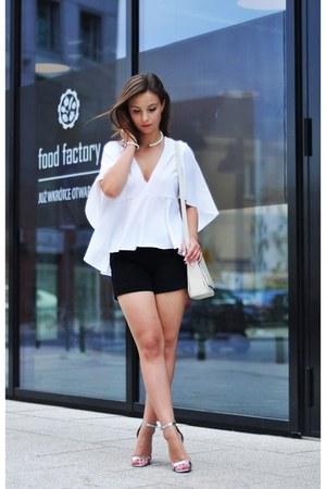 white Zara blouse - silver asos heels