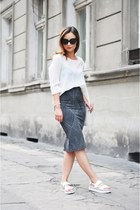 white Zara top - silver Zara skirt - white Zara sandals