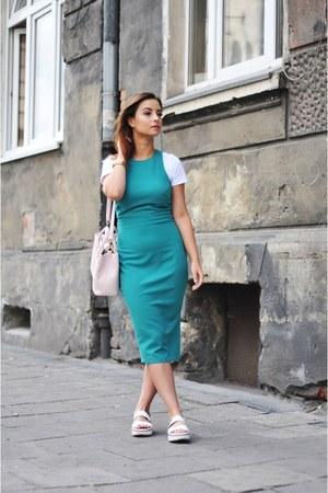 turquoise blue H&M dress - light pink Dorothy Perkins bag - white Zara sandals