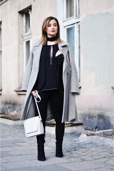 black Stradivarius boots - black Zara t-shirt