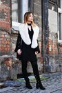 Black-bershka-dress-off-white-zara-scarf-black-kiabi-bag