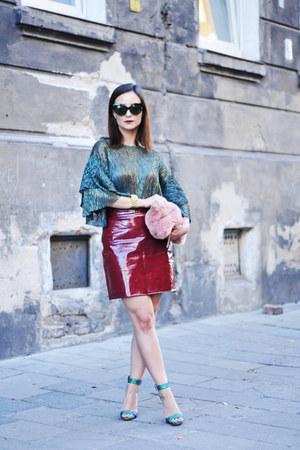 bubble gum Stradivarius bag - turquoise blue Zara blouse