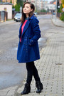 Dark-gray-secondhand-boots-navy-house-coat-hot-pink-secondhand-sweater