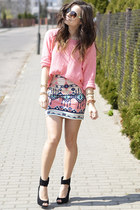 cream Bershka skirt - light pink Cubus sweater - tan reserved sunglasses