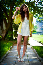 white H&M romper - yellow H&M cardigan - off white Zara heels
