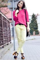 cream Zara pants - hot pink Secondhand sweater - black Secondhand bag