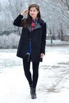 black Zara boots - dark gray Stradivarius coat - red checkered Atmosphere shirt