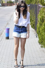 White-bershka-shirt-blue-diy-shorts-black-new-yorker-belt