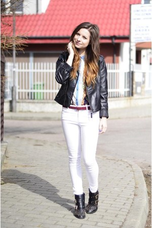 dark gray Zara boots - black leather house jacket - sky blue Zara shirt