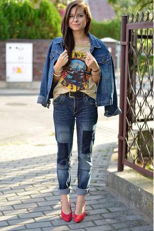 teal denim Secondhand jeans - sky blue denim Secondhand jacket