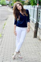 white pull&bear pants - navy DKNY top - silver Zara heels