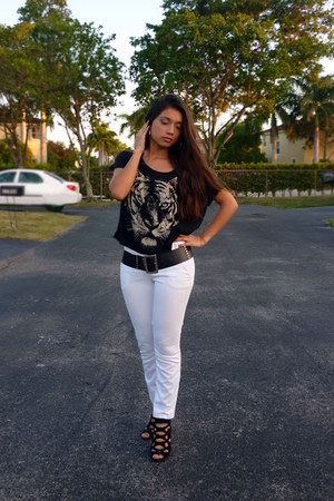 black Forever 21 top - black vintage belt - white Naf Naf pants