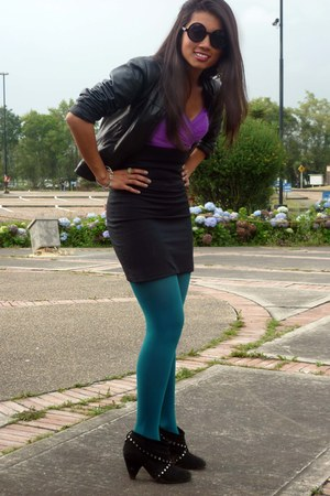 teal American Apparel tights - black Basement boots - black Claires sunglasses