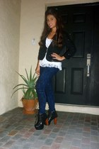 black Jeffrey Campbell boots - black Macys blazer - navy Forever 21 pants