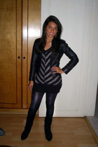 black Studio F dress - black American Apparel leggings - black boots