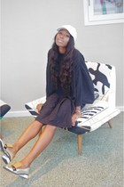 white leather USA hat - black vintage dress - silver Marni flats