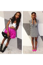 black Prada boots - black asos dress - white Zara shirt - hot pink Topshop skirt