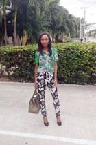 black piamita pants - green Derek Lam shirt - black Giuseppe Zanotti heels