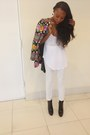 White-h-m-pants-black-ysl-boots-thrifted-blazer-white-zara-intimate