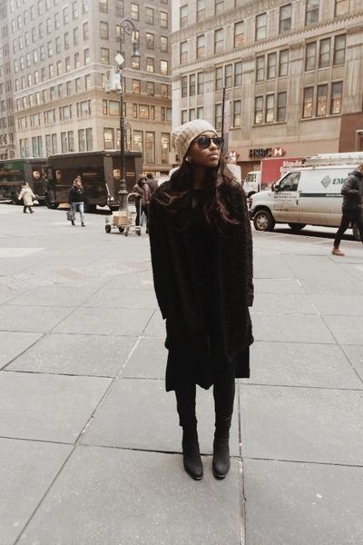black Prada boots - black wax Zara jeans - camel cashmere fl borga hat