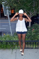 vintage from Ebay hat - navy Zara shorts - white H&M top - Chanel flats