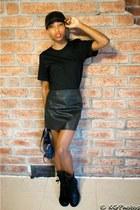 black LPD NEW YORK t-shirt - black Chanel boots - black Ebay hat