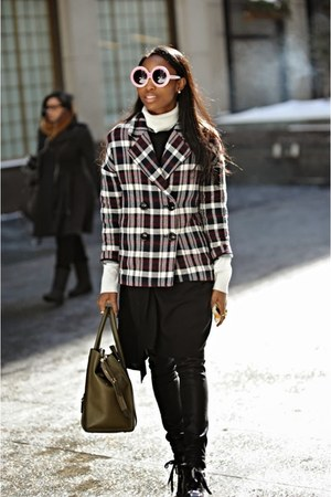 brick red plaid Zara jacket - black Miu Miu boots
