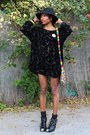 Black-miu-miu-boots-black-niftythriftylove-dress-black-vintage-hat