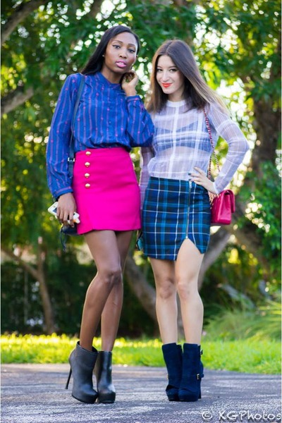 hot pink 31 Phillip Lim skirt - blue plaid Aqua skirt