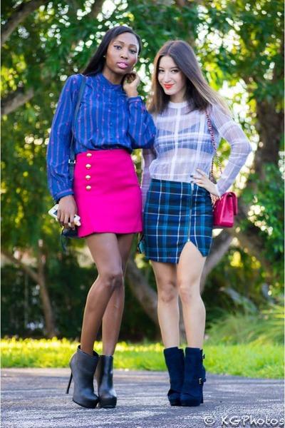 hot pink 31 Phillip Lim skirt - blue plaid Aqua skirt