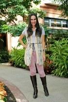 8f3087b33da faux fur H M vest - leather Nine West boots - suede Uniqlo pants