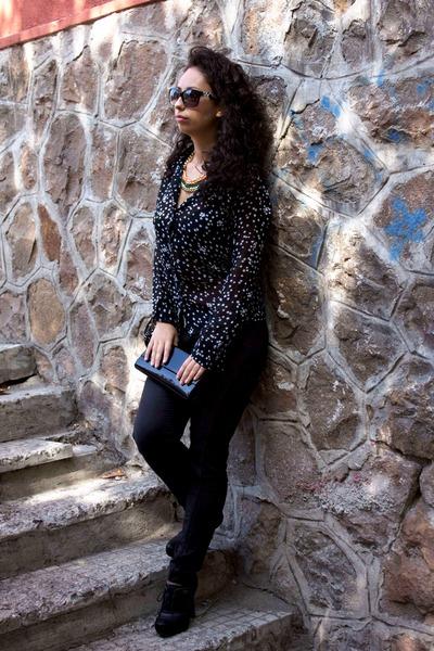 romwe shirt - Bershka pants - elemer necklace