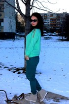 aquamarine romwe sweater - silver Exia Girl sneakers - turquoise blue Zara pants