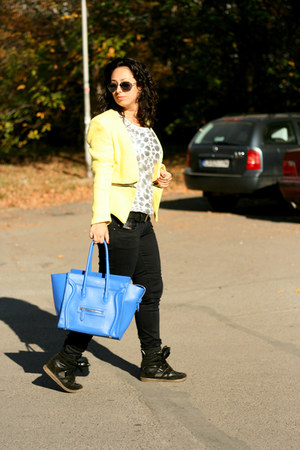 Celine bag - Sheinside blazer - front row blouse