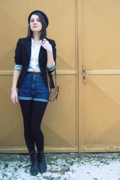 black hat - black new look jacket - white shirt - light brown leather vintage ba