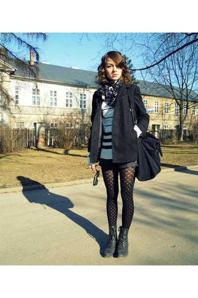 black F&F kids coat - white F&F sweater - black lindex tights - black  scarf
