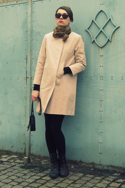 dark gray Gate boots - beige H&M coat - black Calzedonia tights - mustard Tally