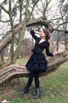 black boots - black blazer - black tights - black lanvin for hm skirt