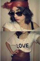 dark brown New Yorker sunglasses - white DIY t-shirt - coral DIY accessories - g
