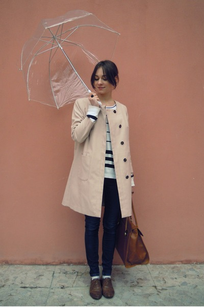brown New Yorker shoes - beige H&M coat - navy Mango jeans - white F&F stripped