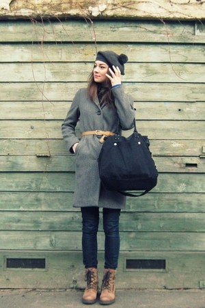 camel Bata boots - heather gray Marc OPolo coat - navy jeans - gray  hat - black