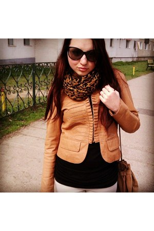 jacket - scarf - bag - sunglasses - blouse - pants