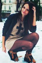 beige leather cross Beatrice Gale dress