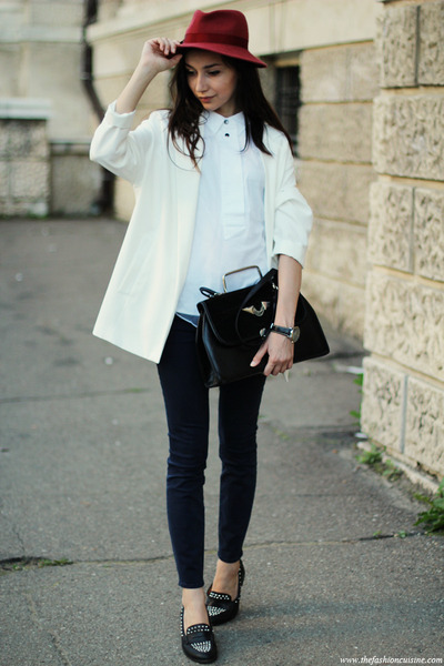 hat - shoes - blazer - bag - top - watch