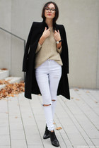 coat - shoes - jeans - sweater - watch