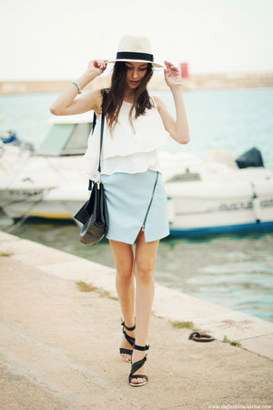 skirt - hat - bag - sandals - top