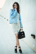 jacket - dress - bag - heels