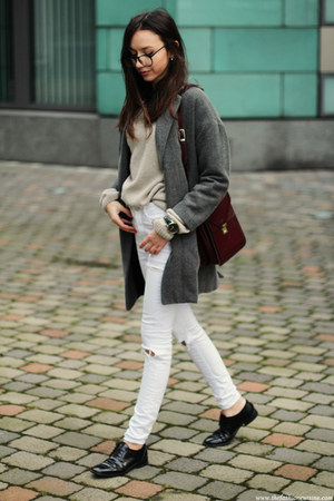 sweater - coat - jeans - bag - loafers