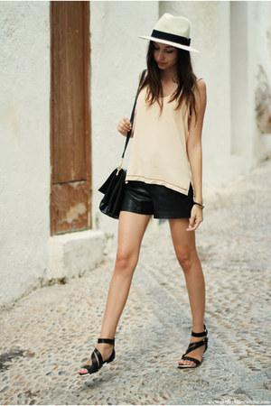 hat - bag - shorts - sandals - top