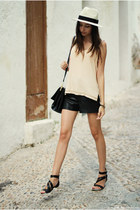 hat - bag - shorts - sandals - top